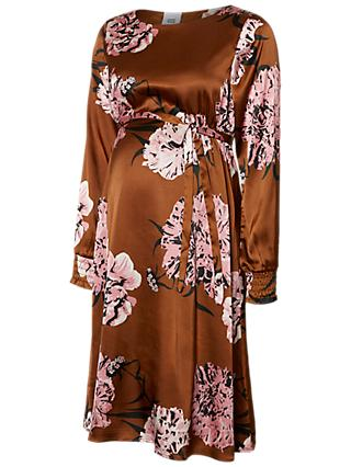 Mamalicious Samantha Satin Floral Dress, Gold