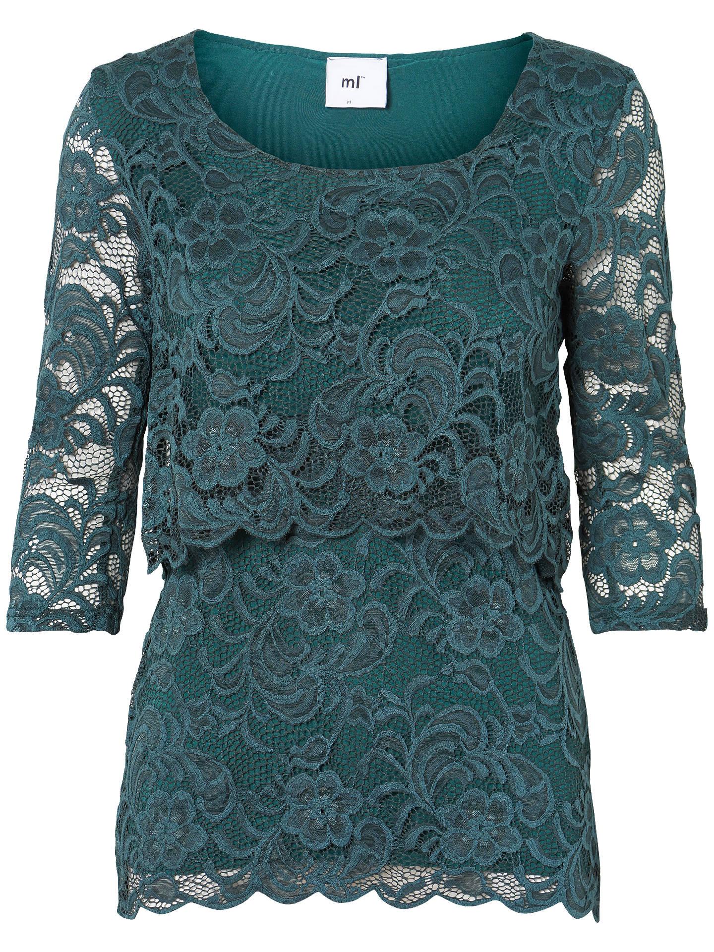 fb793ecd849 Buy Mamalicious Mivane June Lace Overlay Top, Mediterranean Green, S Online  at johnlewis.
