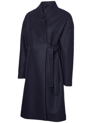 Mamalicious Tie-Belt Maternity Coat, Night Sky