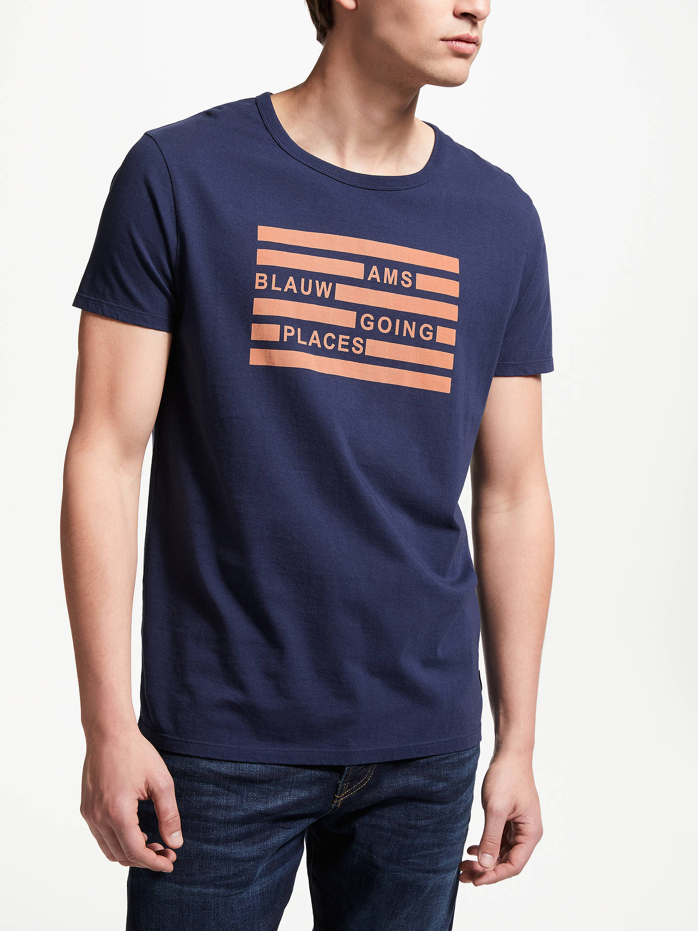 Buy Scotch & Soda Ams Blauw Graphic T-Shirt, Blue, M Online at johnlewis.com