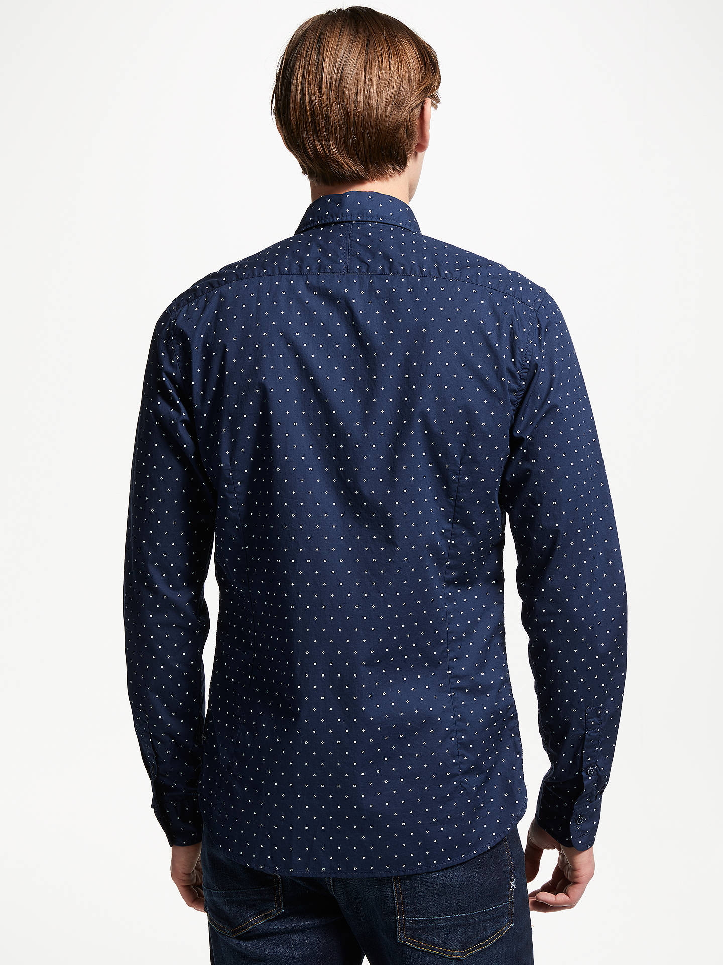 Buy Scotch & Soda Printed Long Sleeve Shirt, Blue, XL Online at johnlewis.com