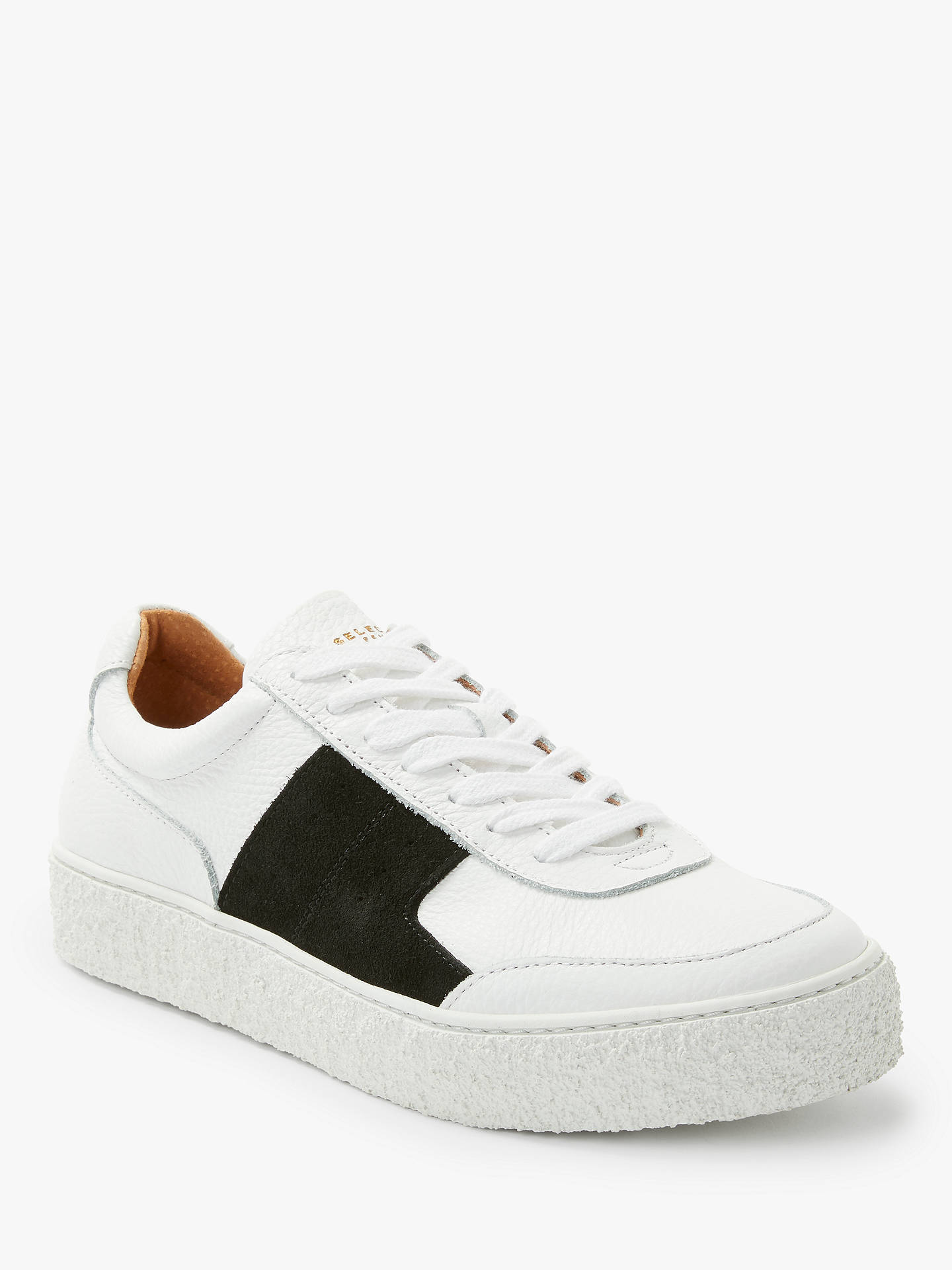 BuySelected Femme Slfdina Leather Trainers, White/Black, 4 Online at johnlewis.com