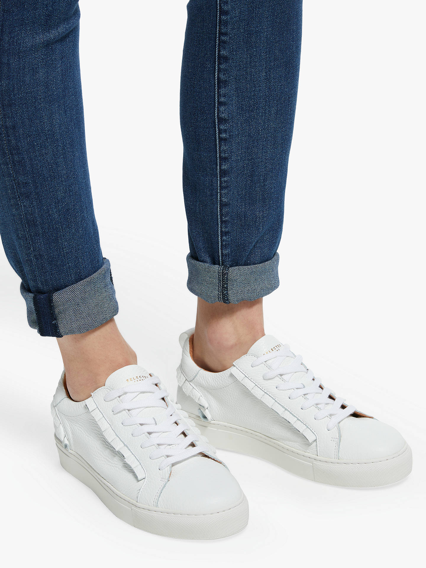 BuySelected Femme Donna Frills Leather Trainers, White, 4 Online at johnlewis.com