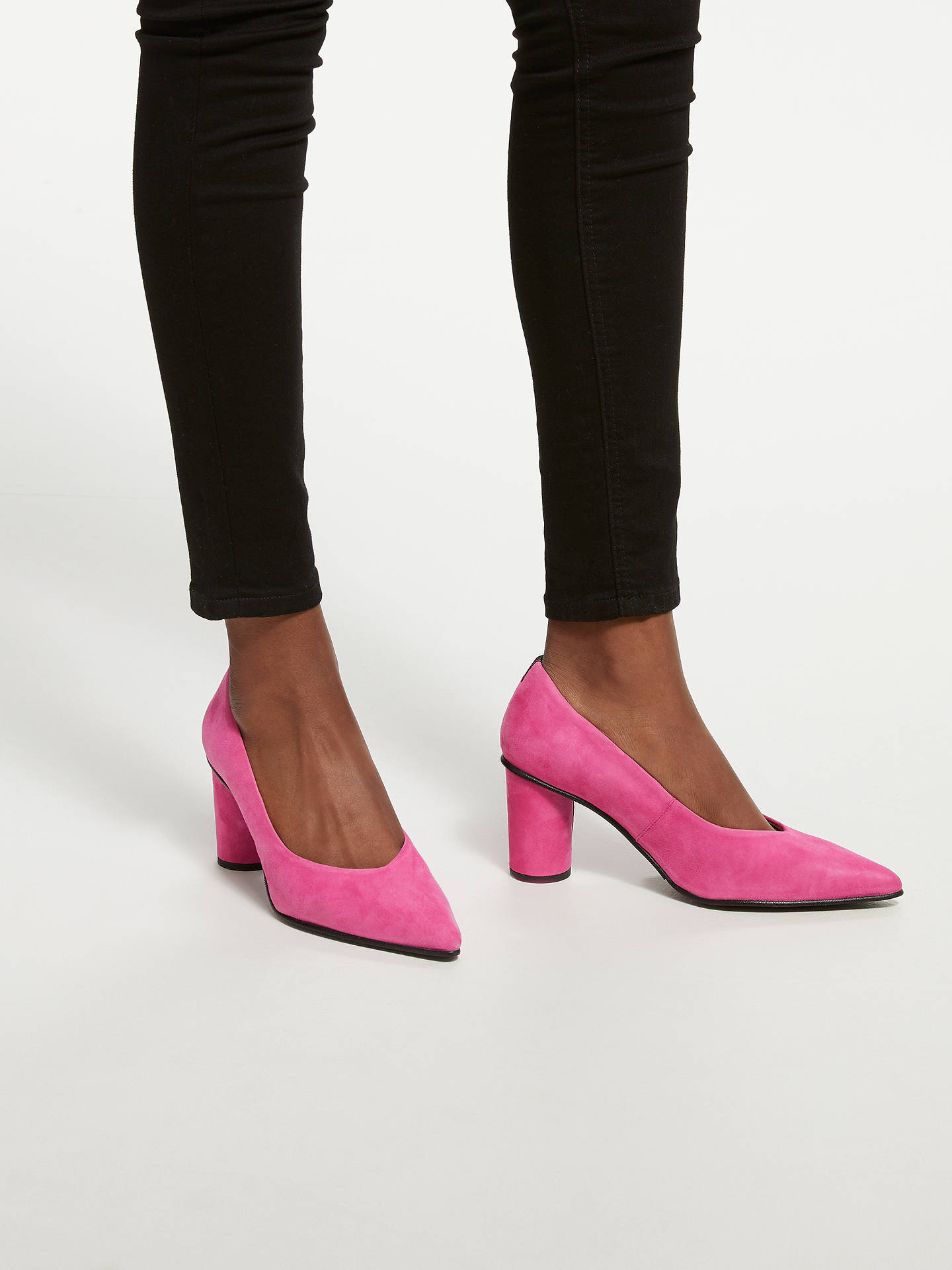 Buy Selected Femme Alex Suede Block Heel Court Shoes, Love Potion, 4 Online at johnlewis.com