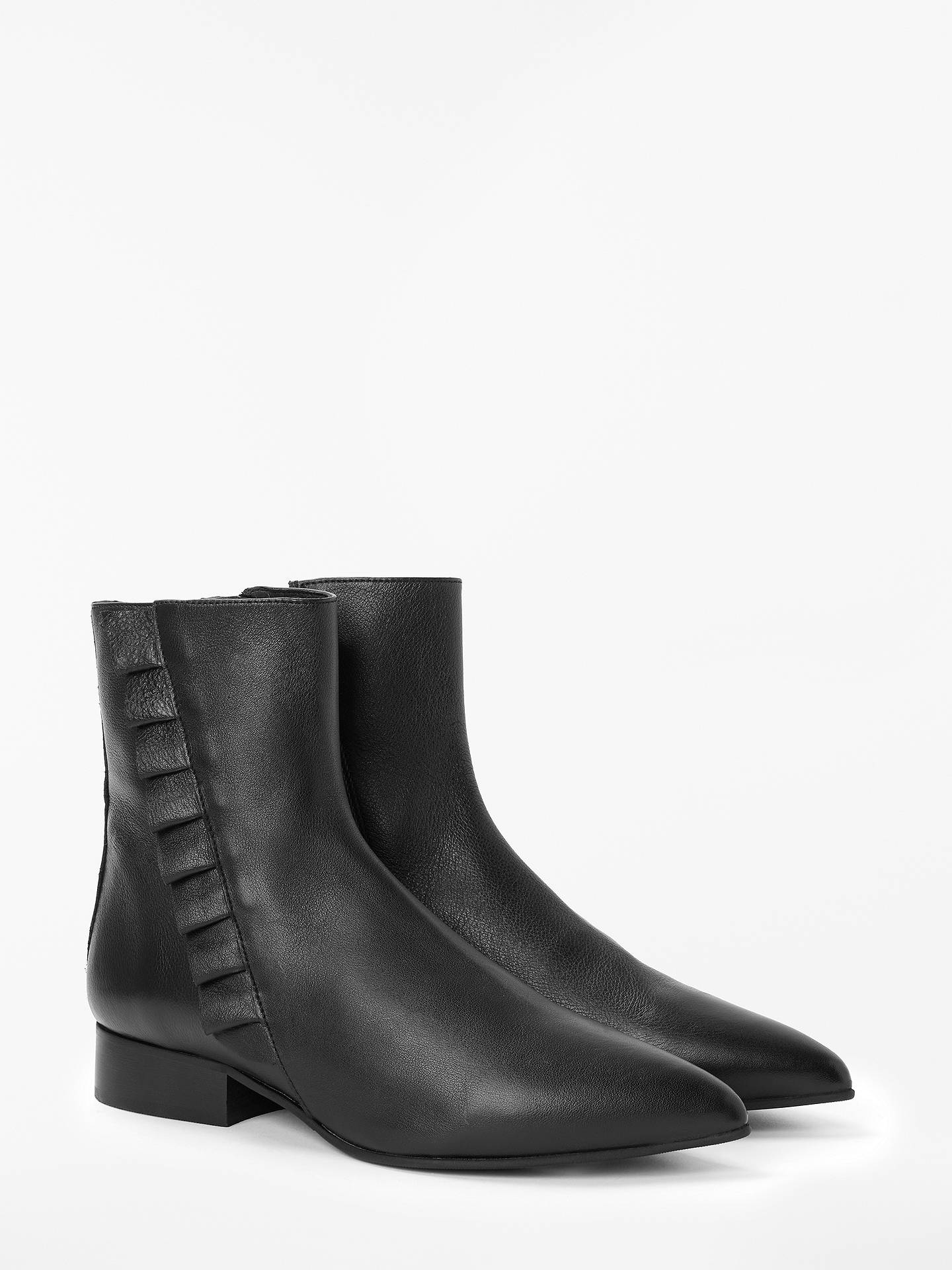 BuySelected Femme Alexia Leather Frill Ankle Boots, Black, 4 Online at johnlewis.com