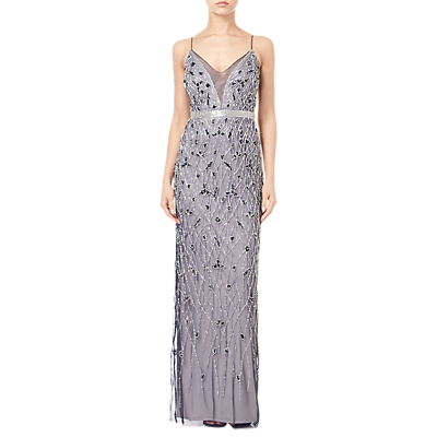Adrianna Papell Beaded Column Dress, Navy/Silver