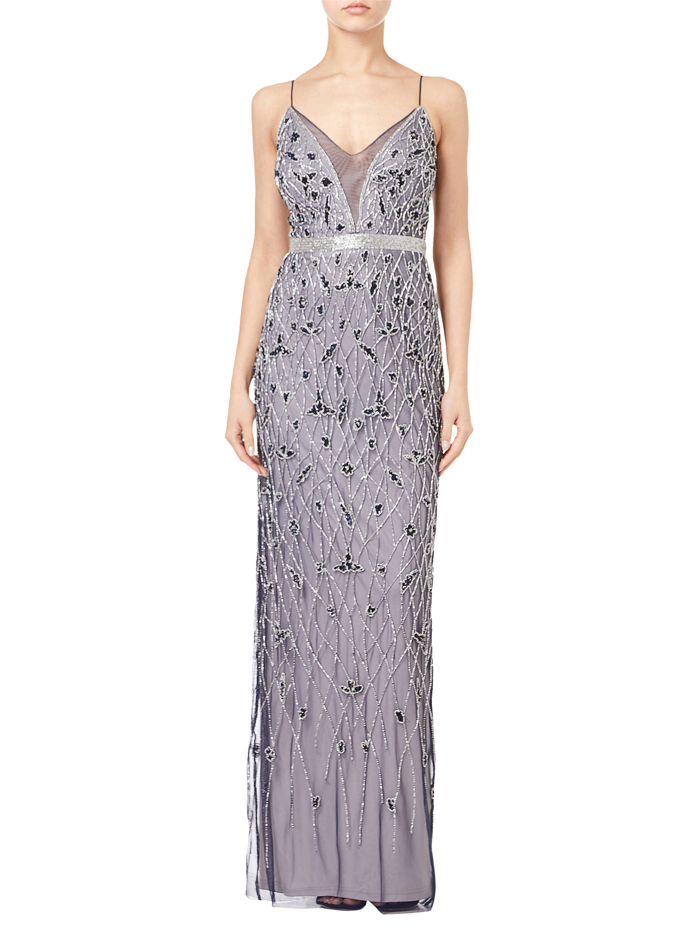 BuyAdrianna Papell Beaded Column Dress, Navy/Silver, 12 Online at johnlewis.com