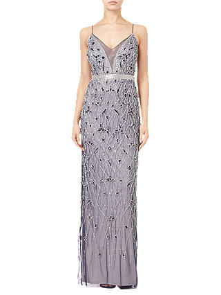 Buy Adrianna Papell Beaded Column Dress, Navy/Silver, 8 Online at johnlewis.com