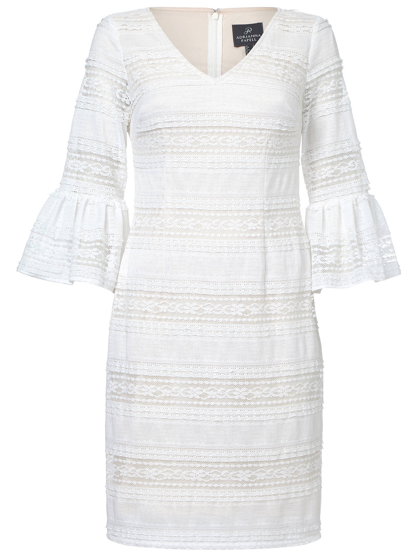 Buy Adrianna Papell Ava Lace Bell Sleeve Dress, Ivory/Powder, 8 Online at johnlewis.com
