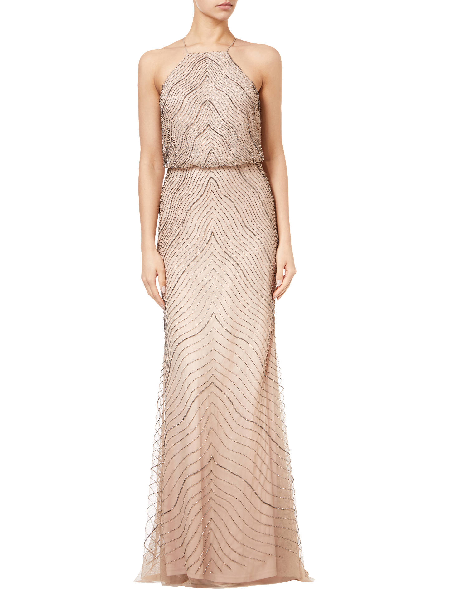 f4f963d86ab3 Buy Adrianna Papell Halter Beaded Blouson Gown, Taupe/Pink, 6 Online at  johnlewis ...