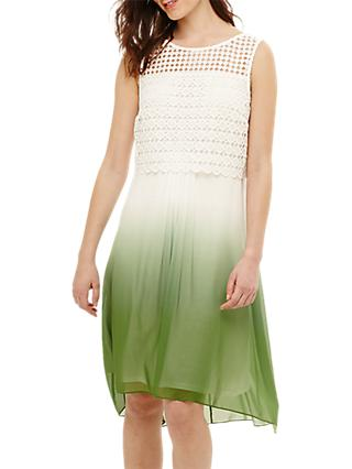 Phase Eight Dorothy Dip Dye Dress, Green/Ivory