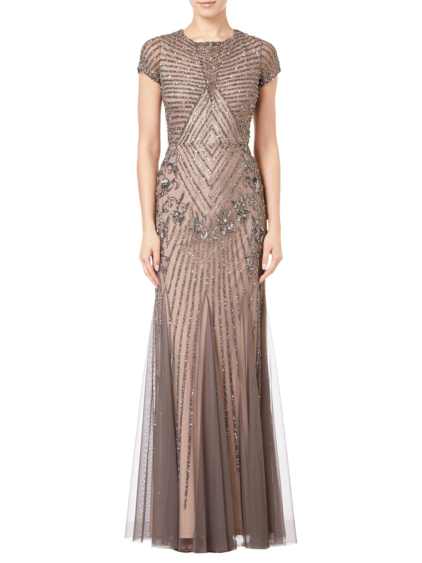 7fa058d7d6fd Buy Adrianna Papell Short Sleeve Beaded Godet Gown, Lead/Nude, 8 Online at  ...