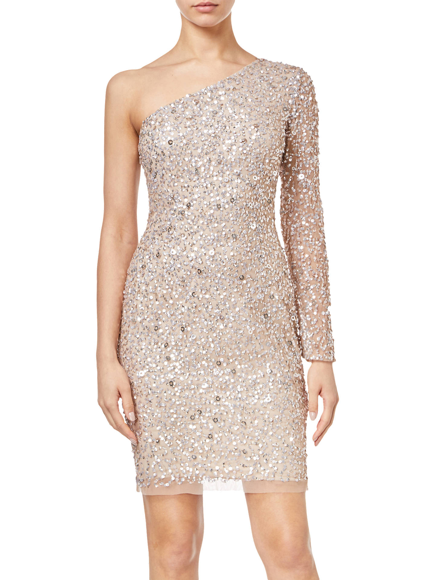 Buy Adrianna Papell One Shoulder Sequin Dress, Champagne, 6 Online at johnlewis.com