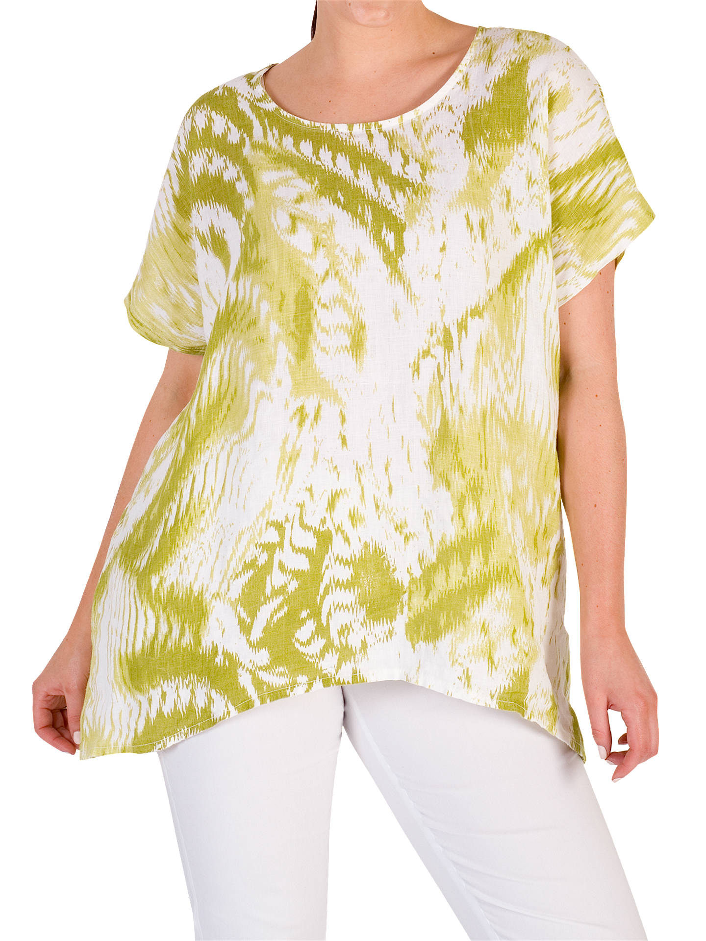 BuyChesca Printed Drape Linen Top, Green, 12-14 Online at johnlewis.com