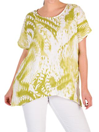 Chesca Printed Drape Linen Top, Green