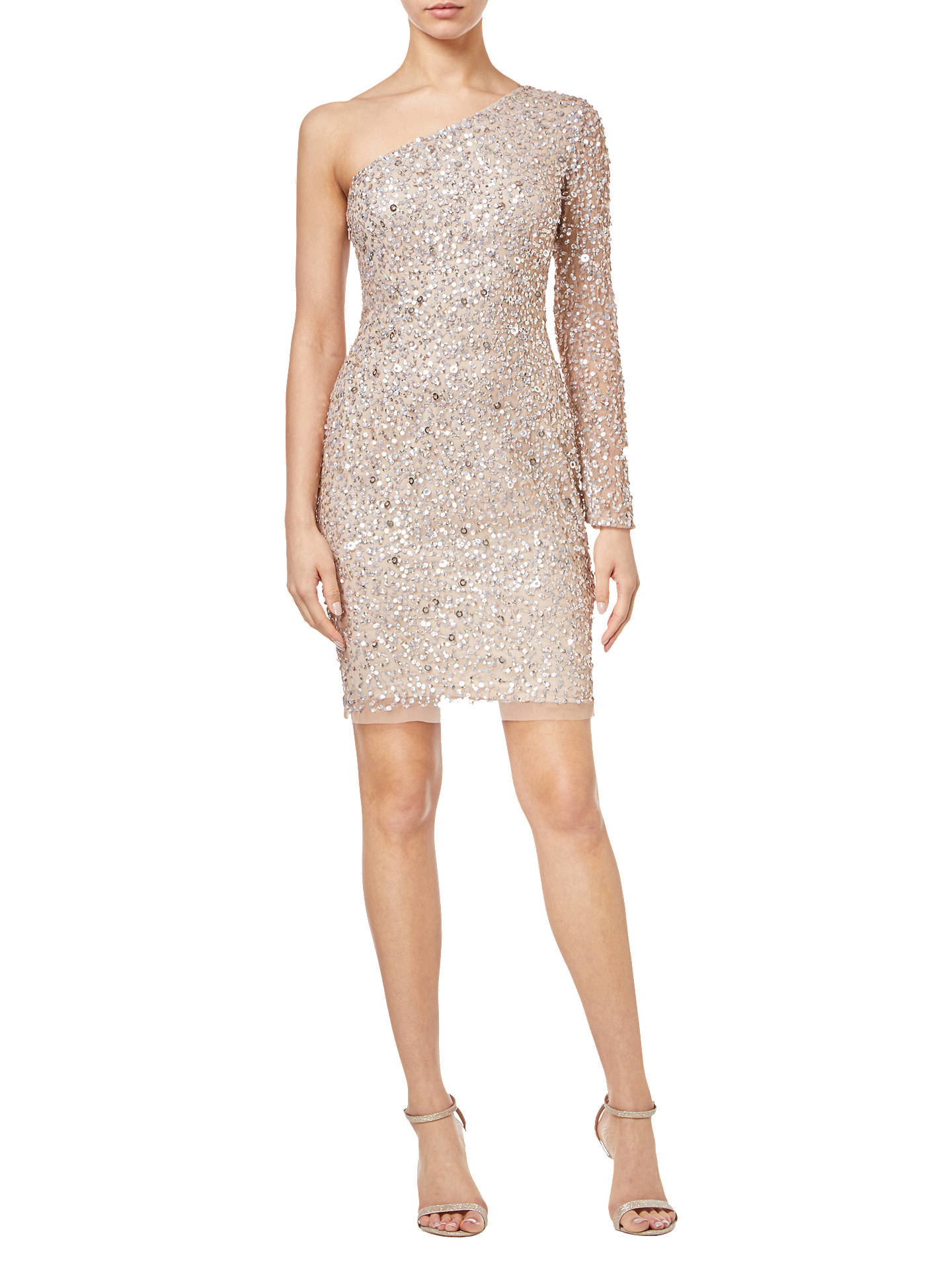 BuyAdrianna Papell Asymmetric Sequin Dress, Champagne, 6 Online at johnlewis.com