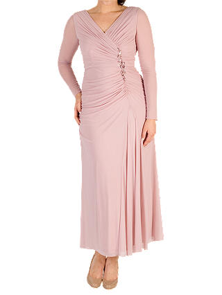 Buy Chesca Ruched Bead Trim Dress, Powder Pink, 12 Online at johnlewis.com