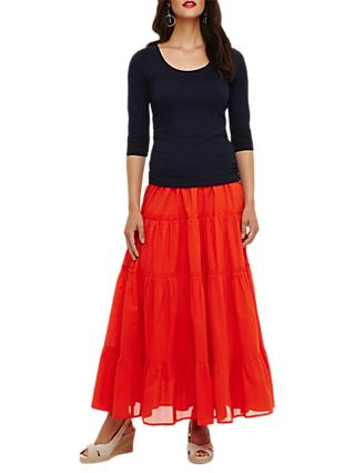 Phase Eight Catherine Tiered Maxi Skirt, Tangerine