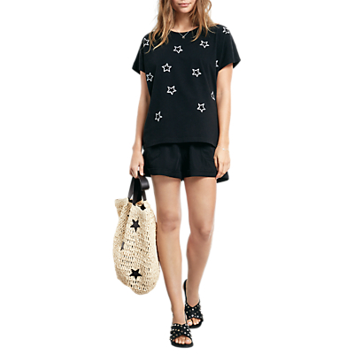 hush Aries Embroidered Top, Black/White