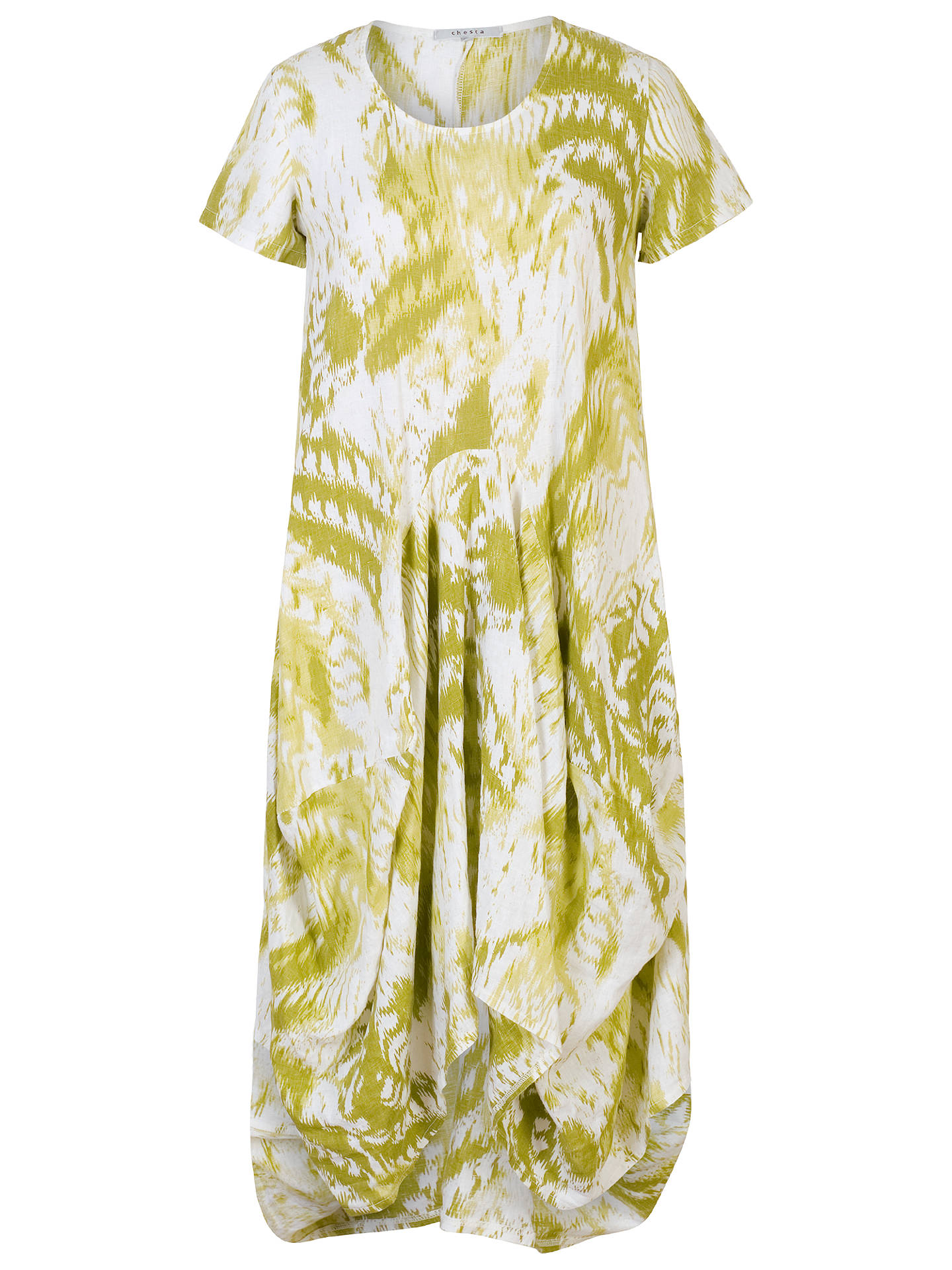 BuyChesca Printed Drape Linen Dress, Apple Green/White, 16-18 Online at johnlewis.com