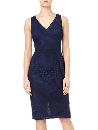 Adrianna Papell Vintage Lace Dress, Navy/Black