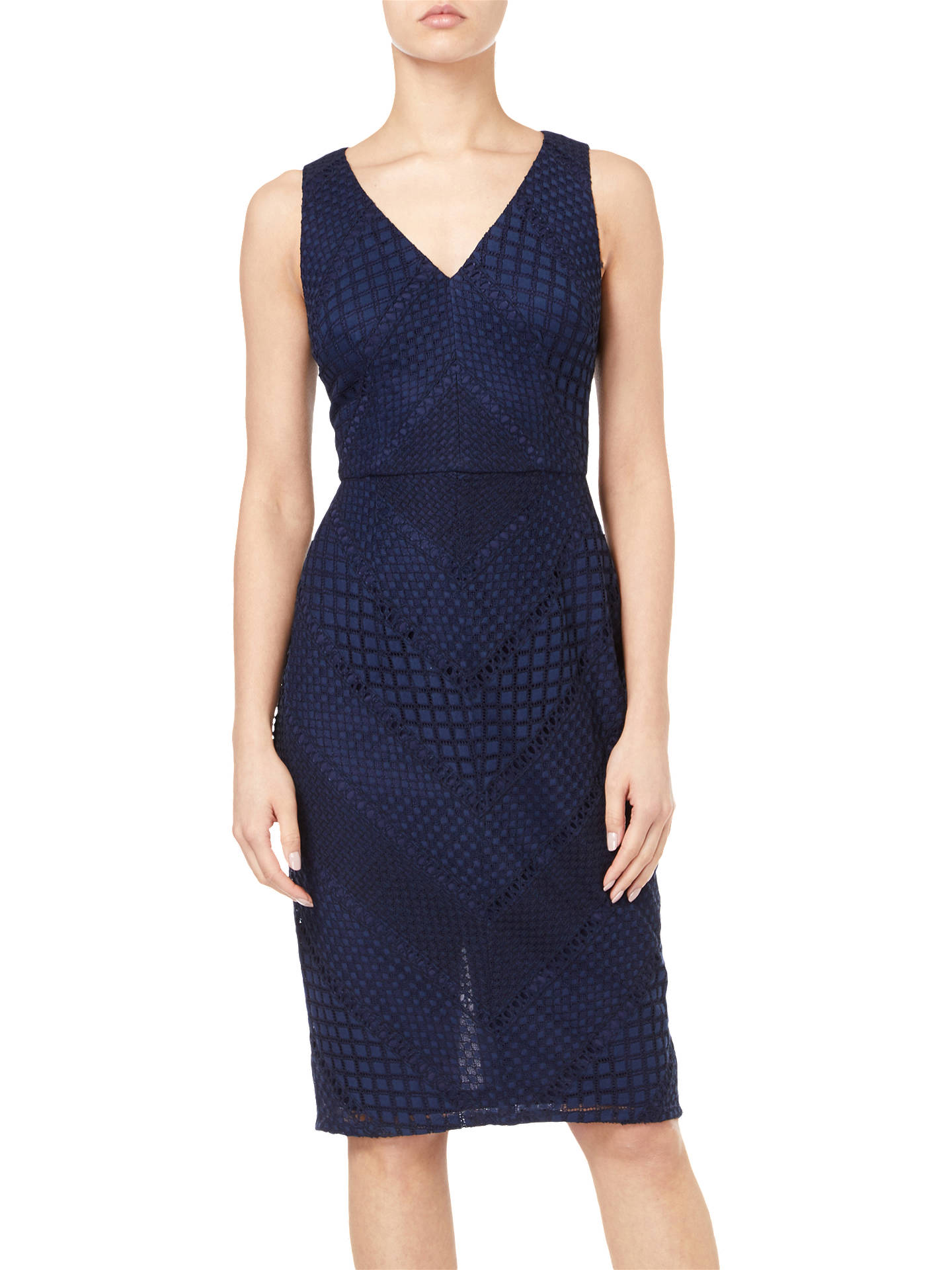 Buy Adrianna Papell Vintage Lace Dress, Navy/Black, 12 Online at johnlewis.com