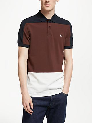 Fred Perry Panelled Pique Polo Shirt, Navy/Burgundy