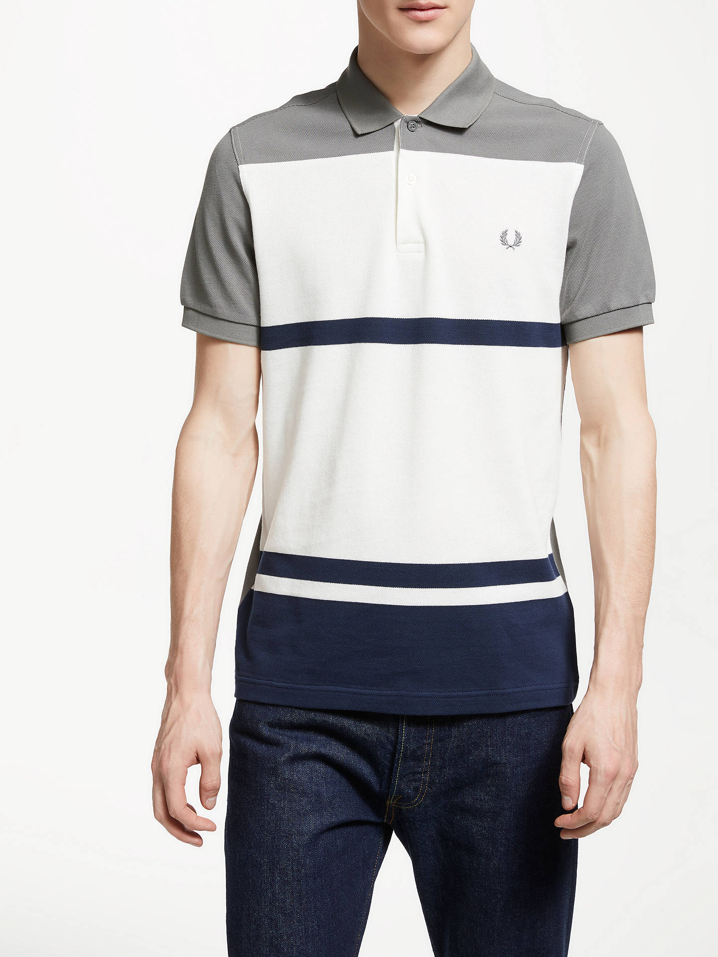 Fred Perry Stripe Pique Polo Shirt Mid Grey At John Lewis Partners