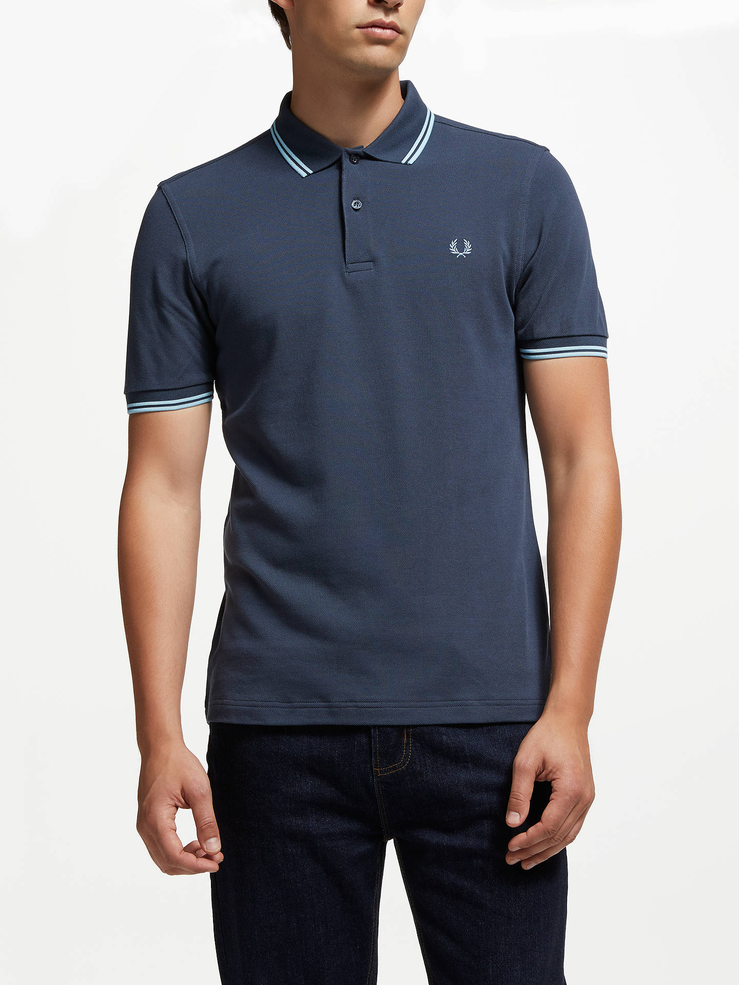2eb0f7eea Buy Fred Perry Twin Tipped Regular Fit Polo Shirt, Dark Airforce, XXL  Online at ...