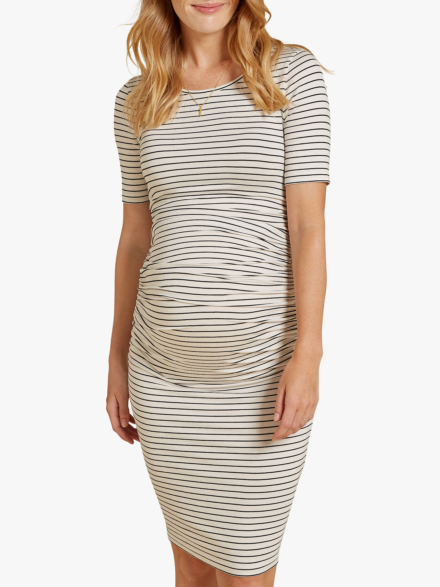 e03d5c504fe6a Buy Isabella Oliver Jamie Striped Maternity Dress, Wine/White, 8 Online at  johnlewis ...