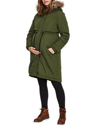 Mamalicious Padded Parka Maternity Coat, Green