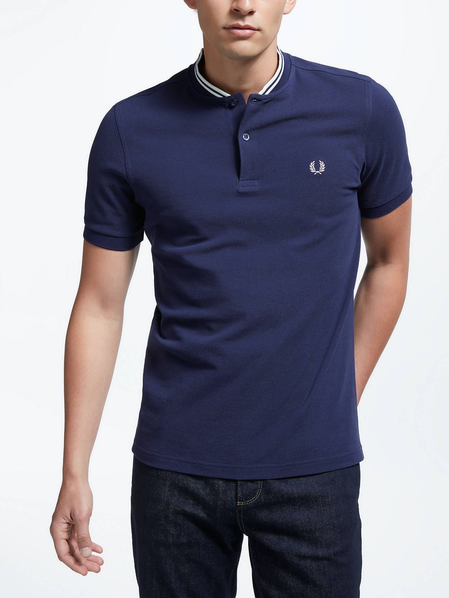 437fbc1e Buy Fred Perry Bomber Neck Polo Shirt, Carbon Blue, L Online at johnlewis.