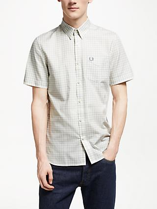 Fred Perry Distorted Gingham Short Sleeve Shirt, Ecru