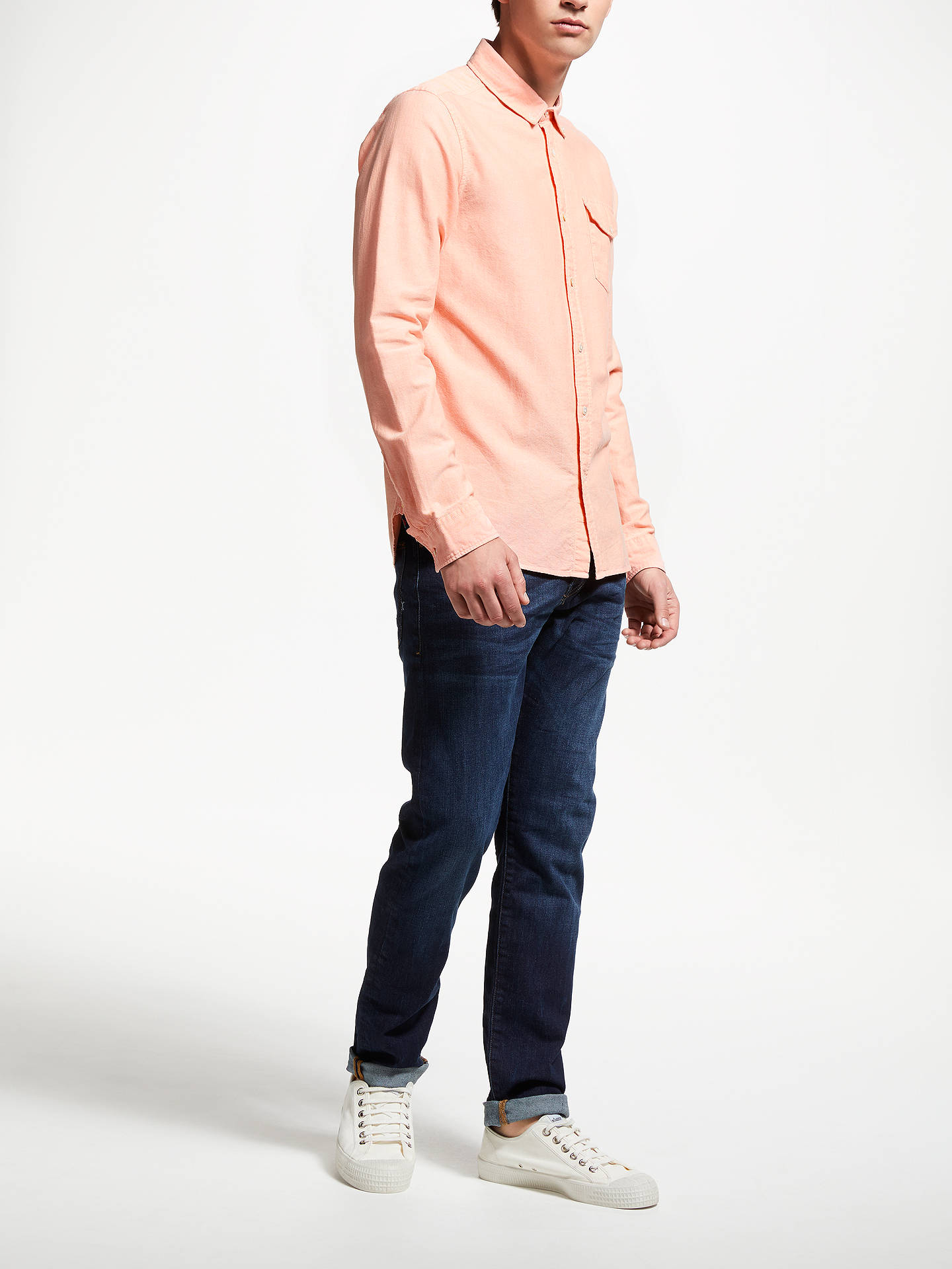 Buy Scotch & Soda Long Sleeve Pocket Oxford Shirt, Pink, XL Online at johnlewis.com