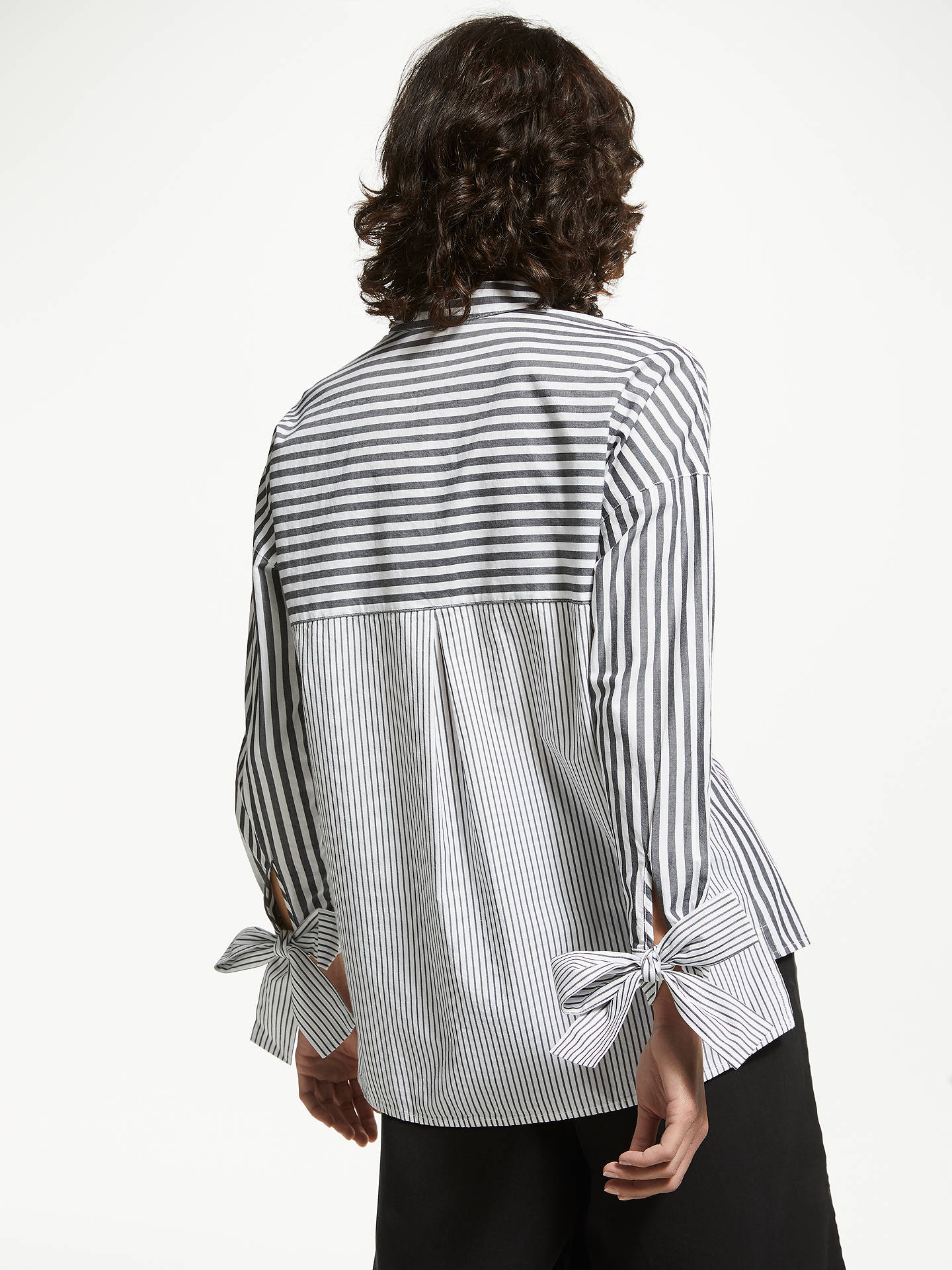 BuyARMEDANGELS Bennu Organic Cotton Stripe Shirt, White/Black, XS Online at johnlewis.com