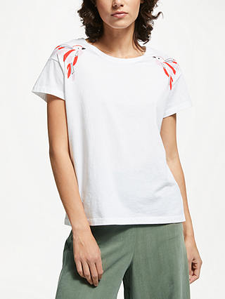 Buy ARMEDANGELS Nela Organic Cotton Twin Birds T-Shirt, White, XS Online at johnlewis.com