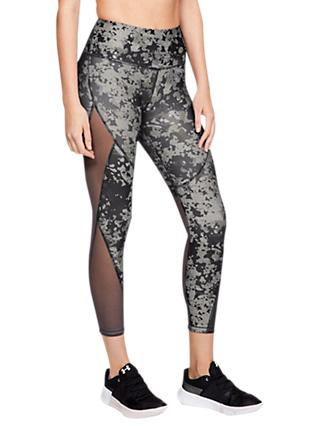 Under Armour HeatGear Armour Print Ankle Capri Tights, Charcoal/Ghost Grey