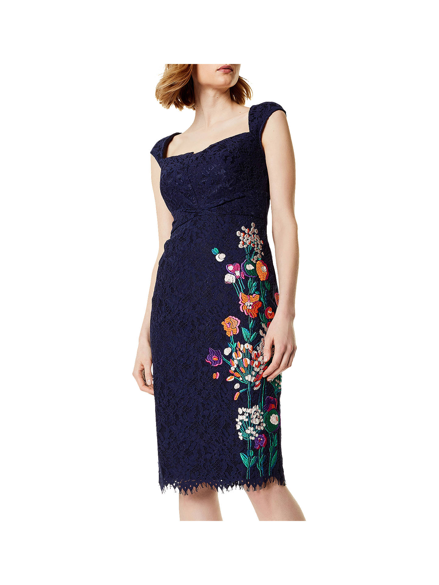 BuyKaren Millen Flower Bouquet Embroidery Lace Dress, Navy/Multi, 6 Online at johnlewis.com