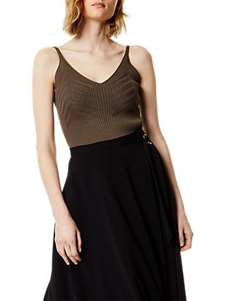 Karen Millen Engineered Rib Knit Vest Top, Khaki