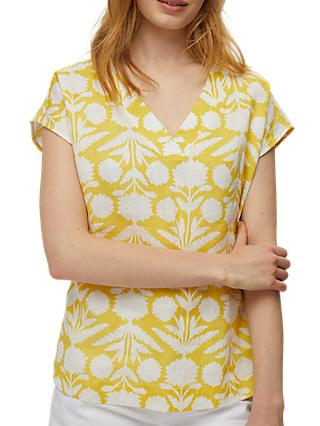 White Stuff Rosewood Print Linen Top, Yellow