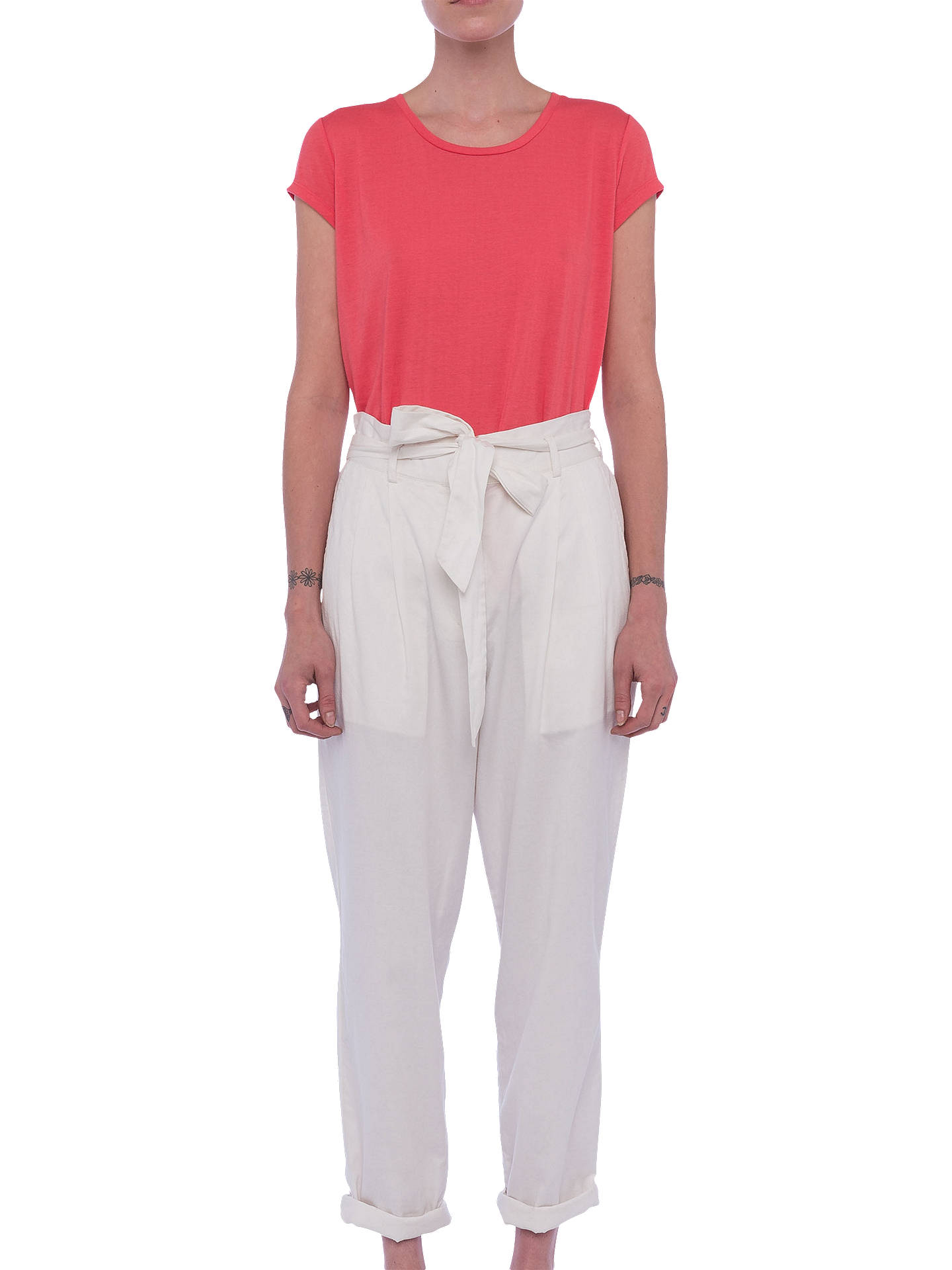 BuyFrench Connection Geada Lightweight Denim Tapered Trousers, Summer White, 8 Online at johnlewis.com