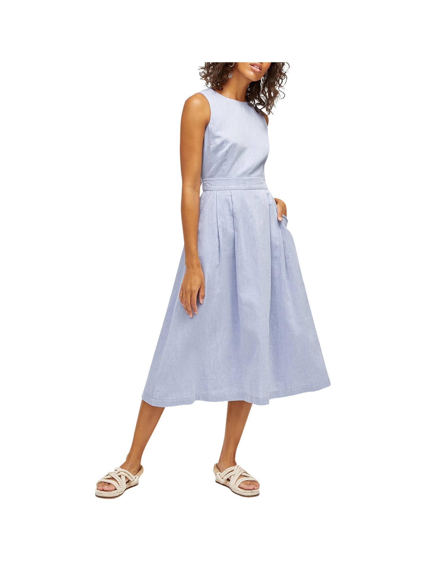 3bd5e84cd93d Buy Warehouse Cotton Tie Back Midi Dress, Light Blue, 6 Online at johnlewis.