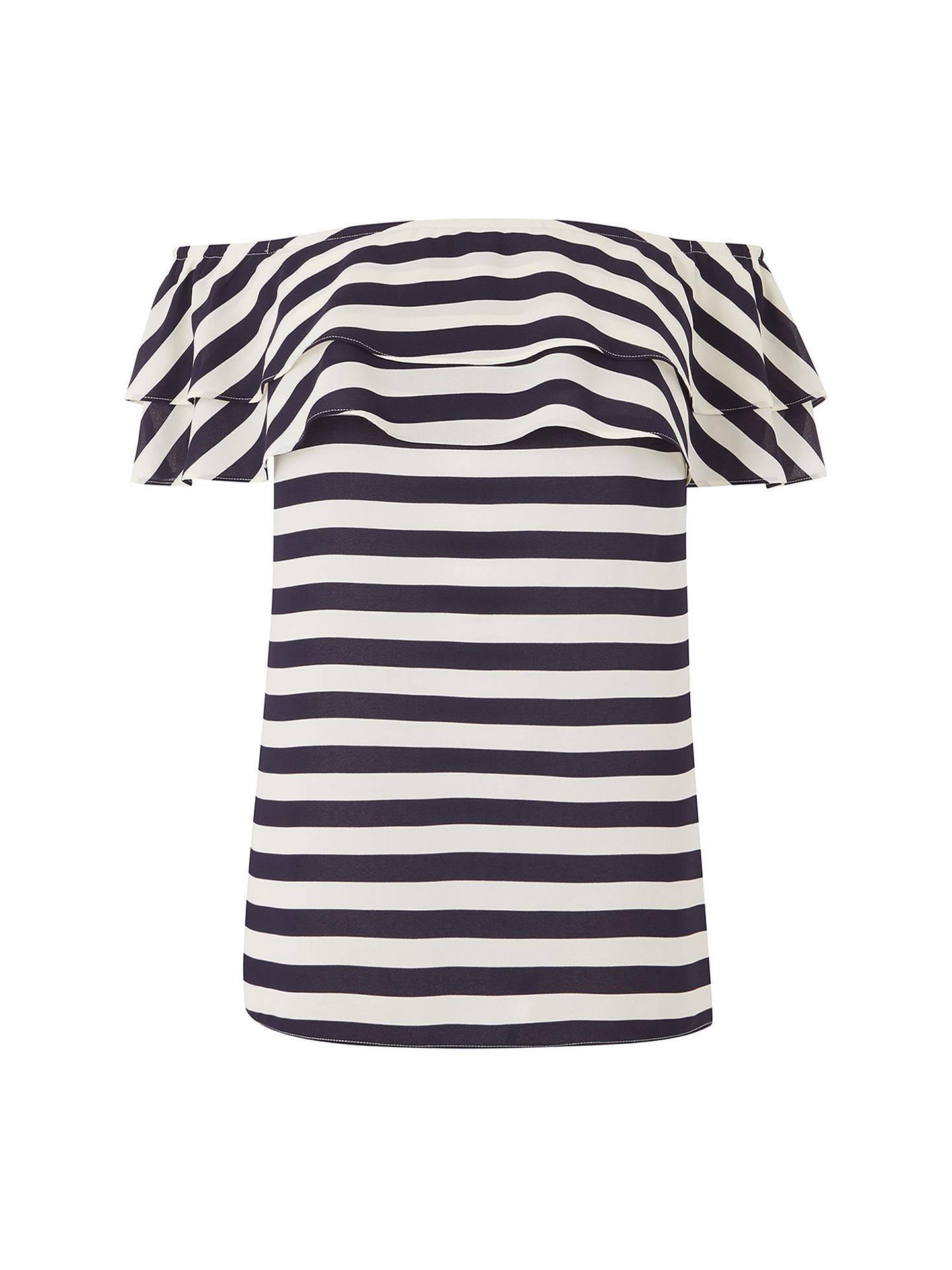 7c10fdb287e ... Buy Oasis Stripe Bardot Top, Multi/Blue, 6 Online at johnlewis.com