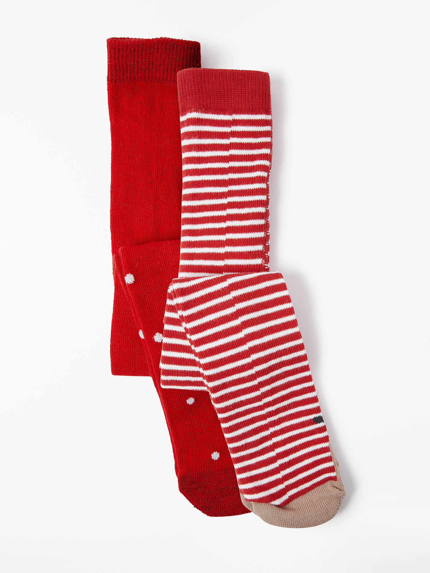 f618500b5fda3 John Lewis & Partners Baby Christmas Spot Stripe Tights, Pack of 2, Red/ White