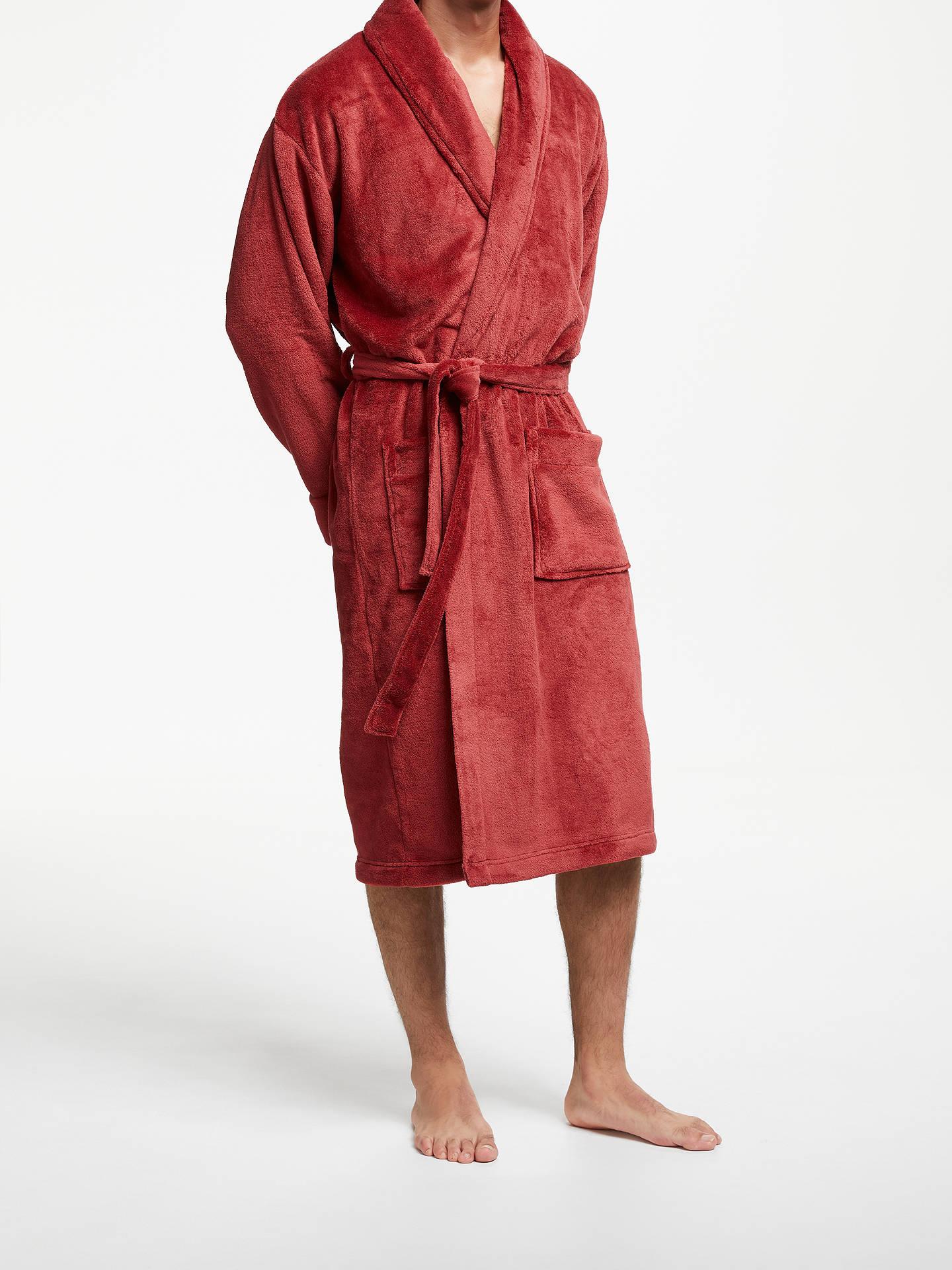 John Lewis Fleece Dressing Gown Red At John Lewis Partners