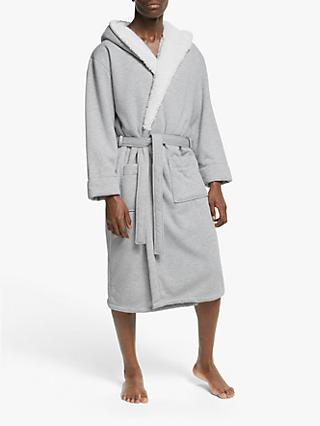 John Lewis Fleeced Lined Dressing Gown, Grey