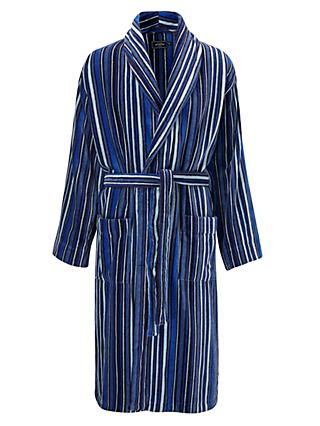 John Lewis & Partners Cotton Velour Stripe Robe, Blue
