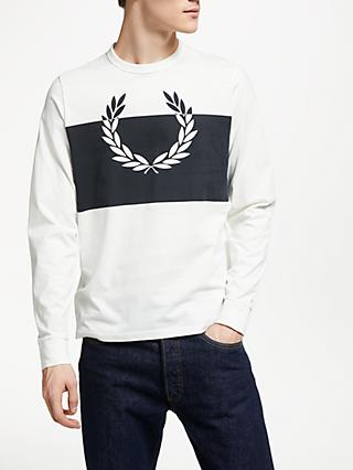 Fred Perry Logo Graphic Long Sleeve T-Shirt, Snow White