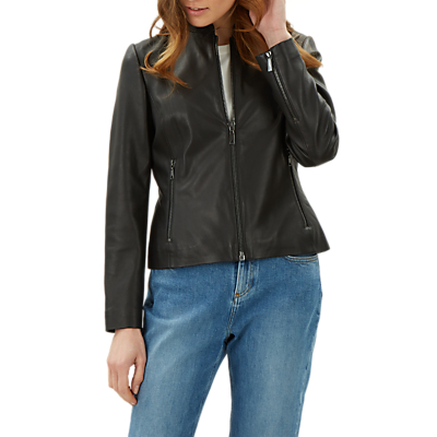 Jaeger Collarless Leather Biker Jacket, Black
