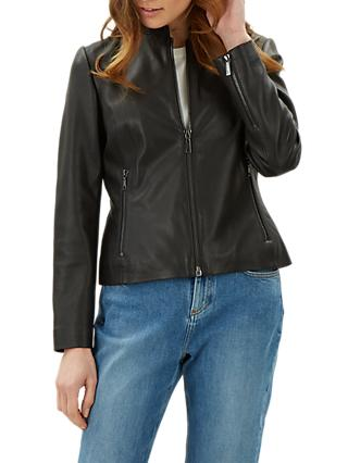 Jaeger Collarless Leather Biker Jacket, Black